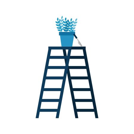 Ladder and plant pot design, Step construction climb work stairway tool and repair theme Vector illustration