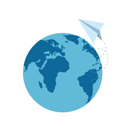 World sphere and paperplane design, Planet continent earth world globe ocean and universe theme Vector illustration