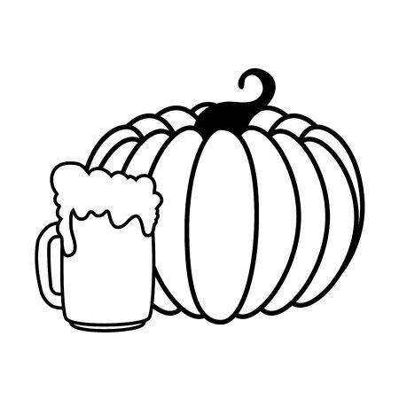 Oktoberfest beer and pumpkin design, Germany festival celebration europe landmark munich culture and party theme Vector illustration Иллюстрация
