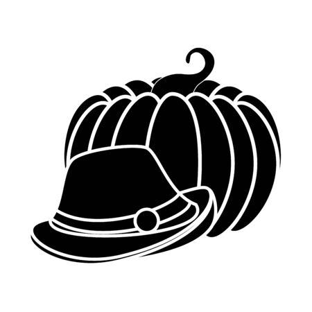 Oktoberfest hat and pumpkin design, Germany festival celebration europe landmark munich culture and party theme Vector illustration Foto de archivo - 134678172