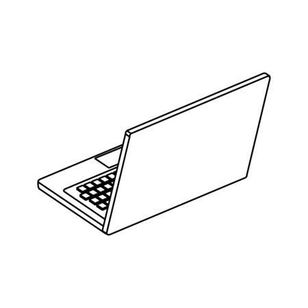 laptop computer device line style icon vector illustration design