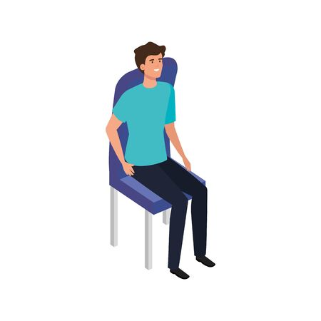beautiful man sitting in chair avatar character vector illustration design