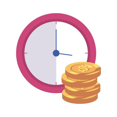 clock wall with pile coins isolated icon vector illustration design