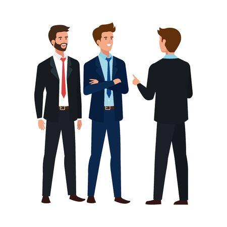 group businessmen meeting avatar character vector illustration design