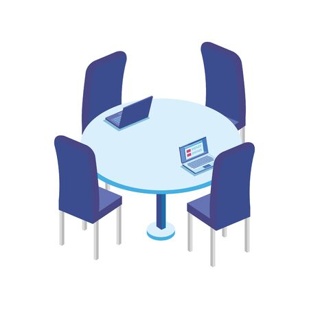 table round with chairs in the workplace vector illustration design