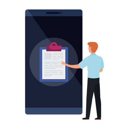 man and smartphone with clipboard isolated icon vector illustration design Ilustrace
