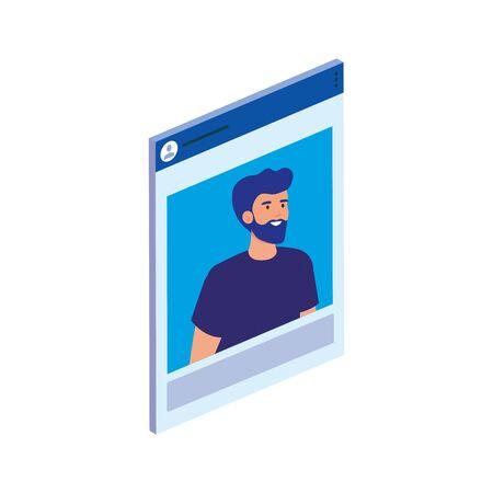 Avatar man design, Digital technology communication social media internet and web theme Vector illustration