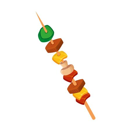 brochette of meat and vegetables isolated icon vector illustration design  イラスト・ベクター素材