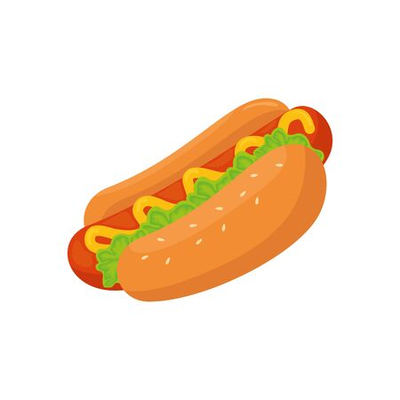 delicious hot dog fast food isolated icon vector illustration design Ilustracja