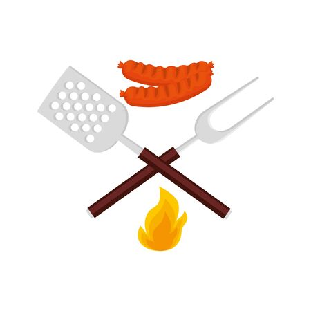 spatula with fork barbecue and sausages isolated icon vector illustration design