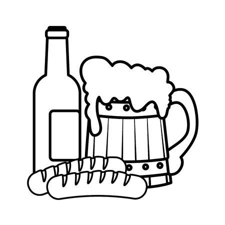 Oktoberfest beer and sausage design, Germany festival celebration europe landmark munich culture and party theme Vector illustration Foto de archivo - 134692225