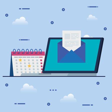 laptop computer with envelope and calendar reminder vector illustration design Ilustração