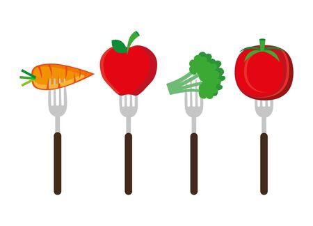 set of cutlery with fresh vegetables vector illustration design