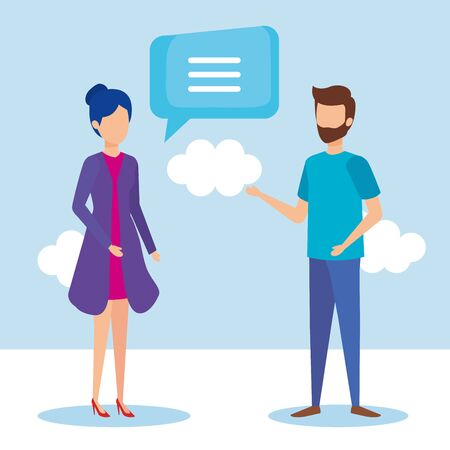 couple with speech bubbles vector illustration design