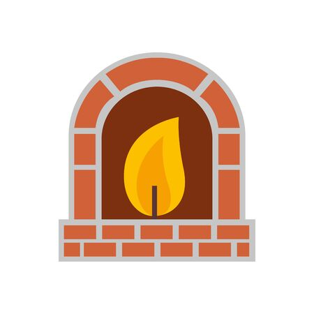 chimney with flame isolated icon vector illustration design