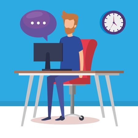 young man working in the office vector illustration design