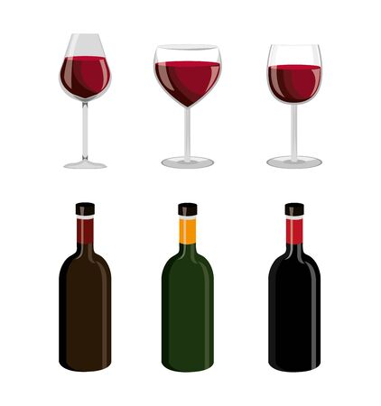 bundle wine with set icons vector illustration design