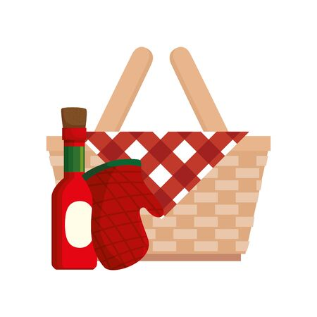 basket wicker picnic with bottle sauce and glove kitchen vector illustration design Ilustracja