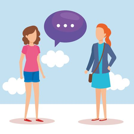 girls with speech bubbles vector illustration design