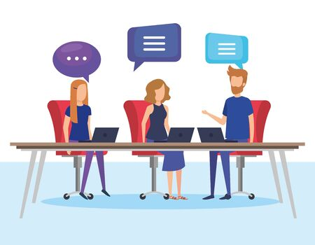 business people with speech bubbles in office vector illustration design