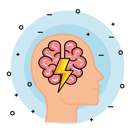 silhouette man head with brain and thunder vector illustration