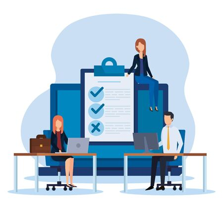 professional businesspeople with document check list vector illustration