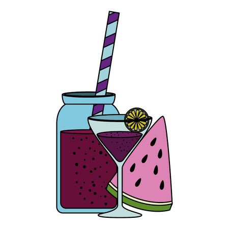 watermelon juice and cocktail cup vector illustration design