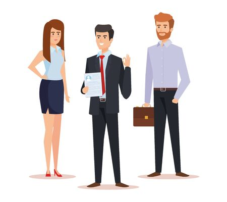 professional businesswoman and businessmen with briefcase and documents vector illustration Illustration