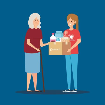 girl volunteer with box donation to old woman vector illustration