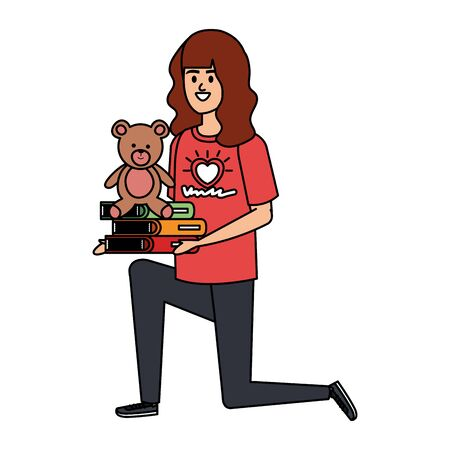 woman volunteer with books and bear teddy vector illustration design