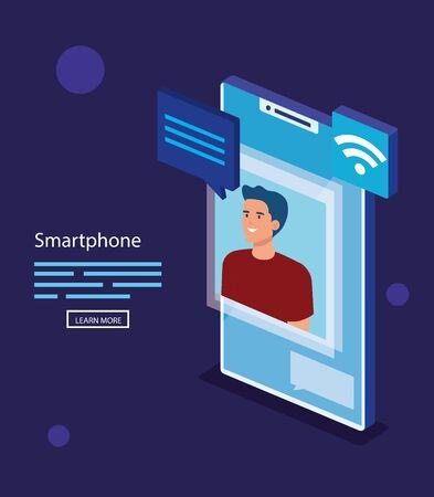 Man with smartphone design, Digital technology communication social media internet and web theme Vector illustration Ilustração
