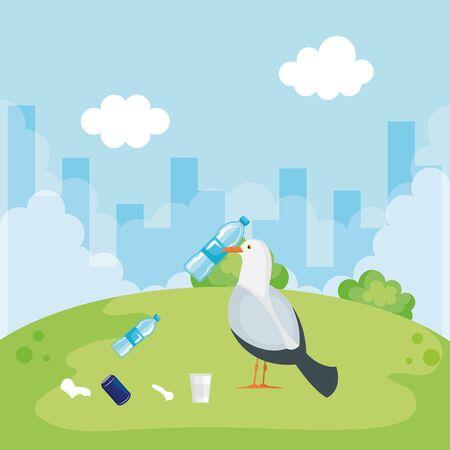 plastics bottles pollution of animals and planet vector illustration