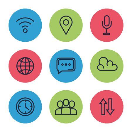 set of digital social app media technology vector illustration