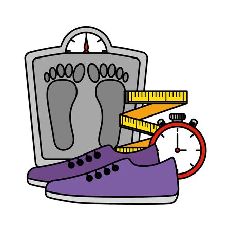 measure weight with healthy icons vector illustration design Illustration