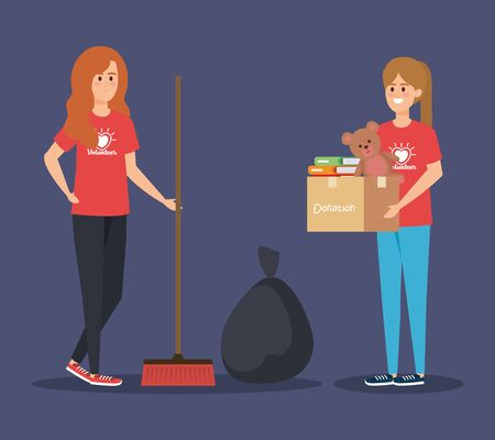 girl with boxes donation and broom with trash bag vector illustration