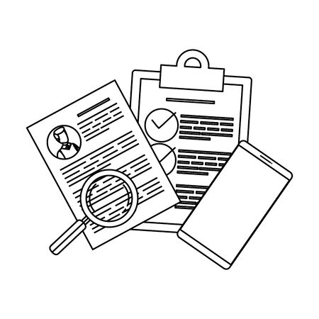 smartphone with curriculum vitae and magnifying glass vector illustration