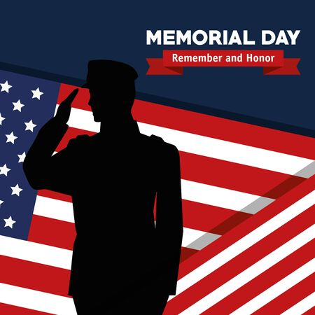 soldier with usa flag to celebrate remember and honor vector illustration