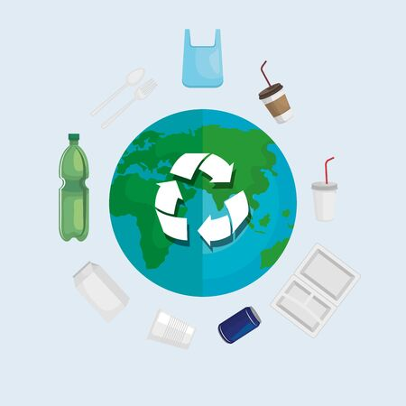 ecology recycle of toxic plastics around the world vector illustration