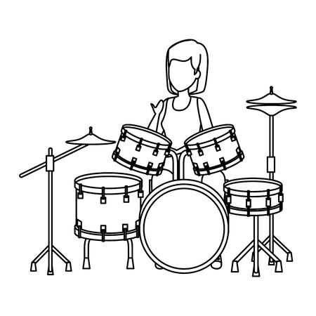 woman playing battery drums vector illustration design Illustration