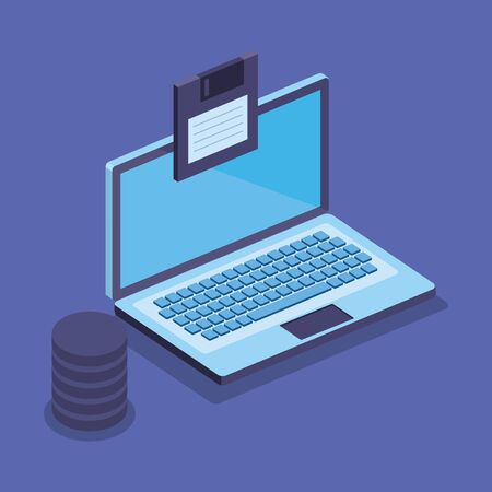 isometric laptop technology with diskette and hard server tower vector illustration