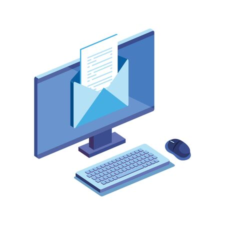 desktop computer with envelope isolated icon vector illustration design