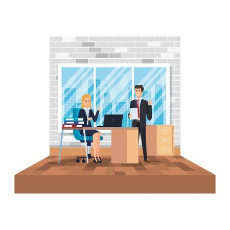 business couple in the office scene vector illustration design Illustration
