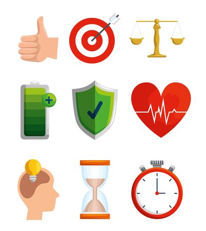 set lifestyle balence with health exercise vector illustration Archivio Fotografico - 134753023