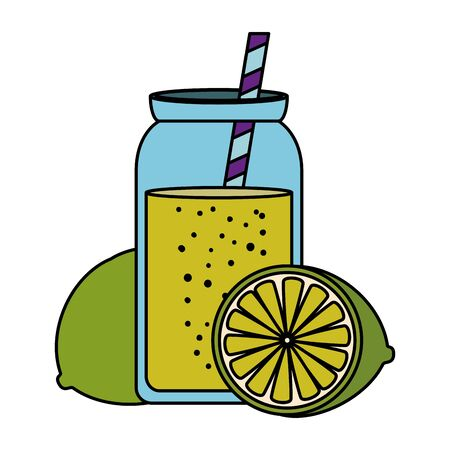 fresh lemon citrus fruit with juice pot and straw vector illustration design