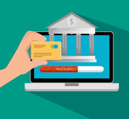 electronic laptop technology with online banking and credit card vector illustration