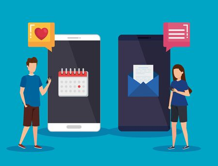 men and woman with smartphone technology and social media vector illustration Ilustrace