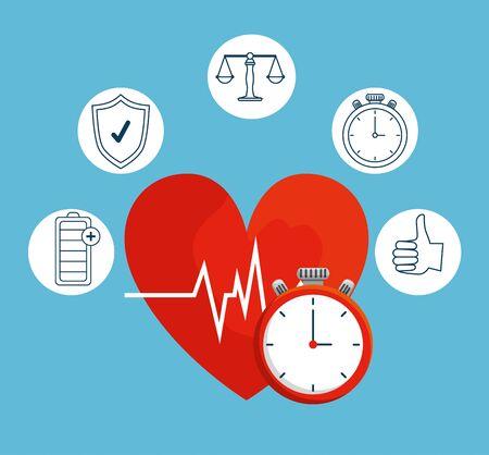 heartbeat with chronometer to health lifestyle balance vector illustration Reklamní fotografie - 134718752