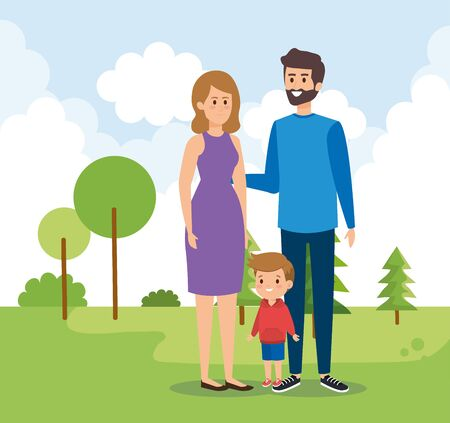 woman and man with their son child and trees vector illustration Çizim