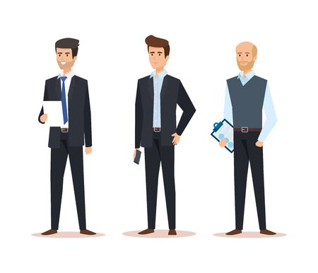 set businessmen with professional company success vector illustration Illustration