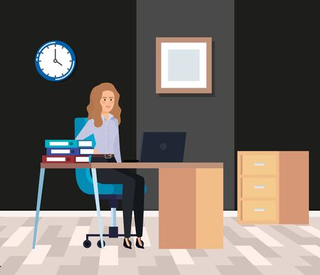 professional businesswoman with laptop in the desk and books vector illustration